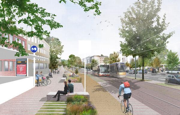 Croisement Herrmann-Debroux et Souverain - Direction Forêt de Soignes