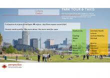 Slide de la présentation de la Région bruxelloise: Espaces ouverts dans les villes compactes et denses